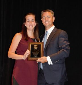 Laura Mangini and Jeff Morneau - Laurea being honored by Hampden County Bar Association