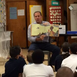 Rob reading to 4th grade class