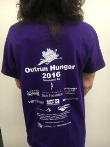 Tshirt for Outrun Hunger supporting Rachel's Table