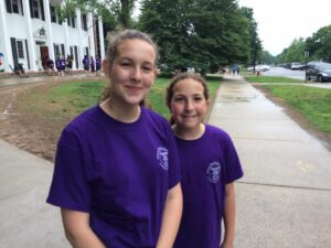 Two young girls at Outrun Hunger run